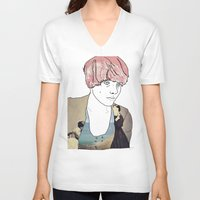 introvert V-neck T-shirts featuring introvert girl by Katharina Nachher