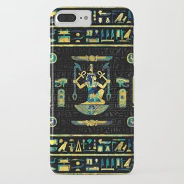 Egyptian  Gold and Blue Marble Ornament iPhone Case