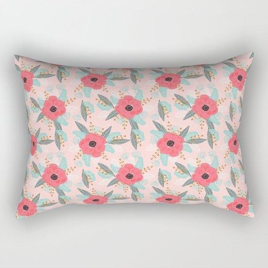 Poppies pink pastel red florals flowers pattern boho dorm college trendy garden plants poppy flower Rectangular Pillow