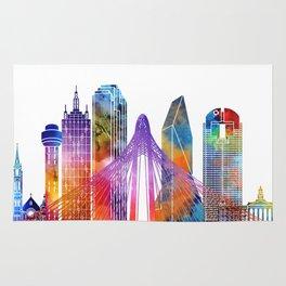 Dallas landmarks watercolor poster Rug