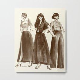 Trio in Modern Filipiniana Sketch Metal Print