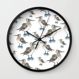 blue foot bobbie pattern Wall Clock