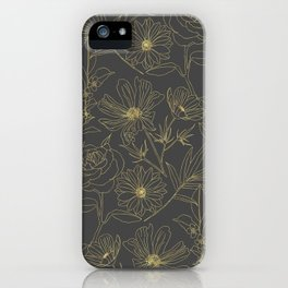 Simple garden flowers gold outlines design iPhone Case