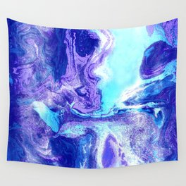 Swirling Marble in Aqua, Purple & Royal Blue Wall Tapestry