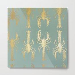 Golden Lobsters Metal Print