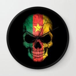 Dark Skull with Flag of Cameroon Wall Clock