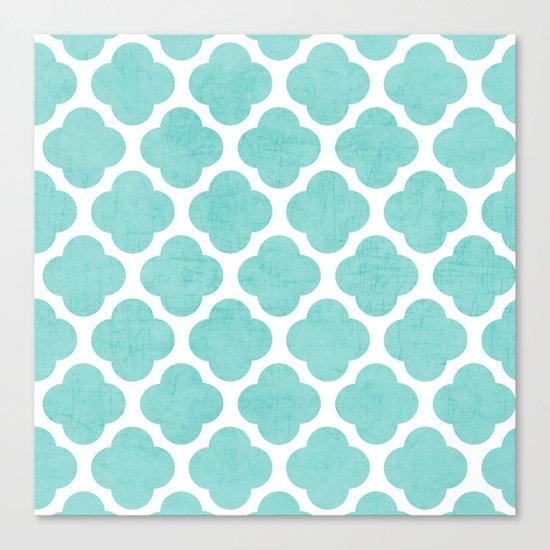 teal clover Canvas Print