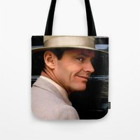 jack nicholson Tote Bags featuring Jack Nicholson @ China Town by Gabriel T Toro
