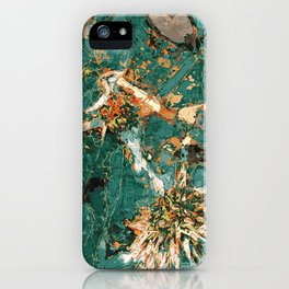 Macelas - Small flowers digitally stylized green marble iPhone Case