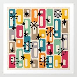Mid Century Modern Atomic Sparkles 254 Art Print