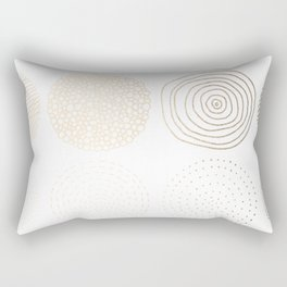Simply Mod Circles in White Gold Sands on White Rectangular Pillow
