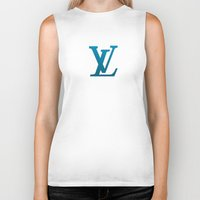 lv Biker Tanks featuring LV Blue Pattern by Veylow