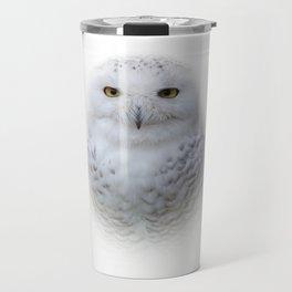 Dreamy Encounter with a Serene Snowy Owl Travel Mug