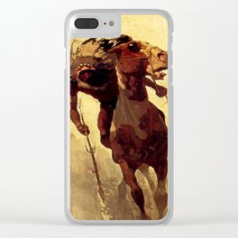 """N C Wyeth Vintage Western Painting """"Indian Lance"""" Clear iPhone Case"""