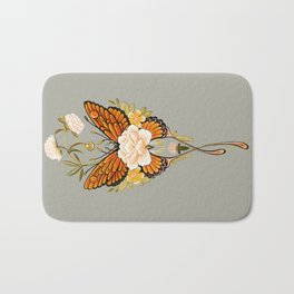 Butterfly Peonies Tattoo Bath Mat