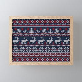Ugly sweater Merry Christmas Happy New Year vintage nodric illustration knitted pattern folk style scandinavian ornaments. Navy, red, blue colors. Framed Mini Art Print