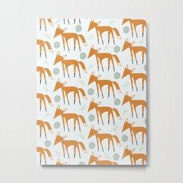 Foxy Pattern Metal Print