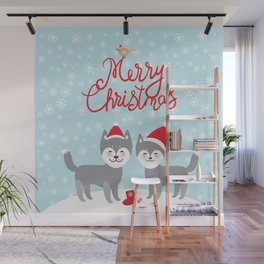 Merry Christmas New Year's card design funny gray husky dog in red hat, Kawaii face with large eyes Wall Mural