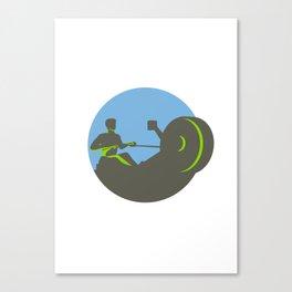 Rower Rowing Machine Circle Retro Canvas Print