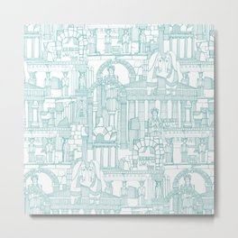 Ancient Greece teal white Metal Print