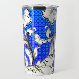 WHITE BUTTERFLIES FLUTTERING WITH BAROQUE FLORAL Travel Mug