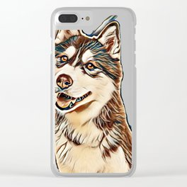 Portrait of a pretty husky dog looking away with mouth open isolated on a white background in a vert Clear iPhone Case