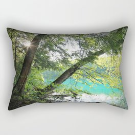 Aqua Blue Lake and Trees Rectangular Pillow