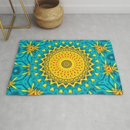 Birds of Paradise Circular Geometric Blended Floral Pattern \\ Yellow Green Blue Teal Color Scheme Rug