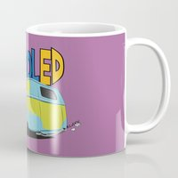 vw bus Mugs featuring VW Camper Drag Bus by VelocityGallery