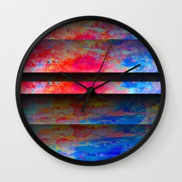 Red Color Blinds Wall Clock