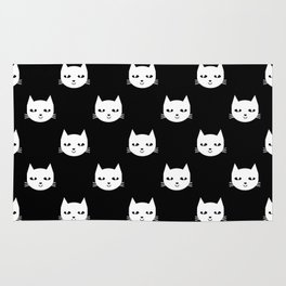 Cat minimal illustration pet cats head drawing digital pattern black and white nursery art Rug