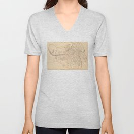 Vintage Map of Lowell MA (1904) Unisex V-Neck