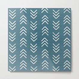 Muted teal and soft white ink brushed arrow heads pattern with textured background Metal Print
