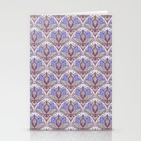 bedding Stationery Cards featuring Art Deco Lotus Rising 2 - sage grey & purple pattern by micklyn
