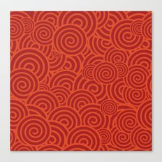 Red Pattern Curlies Canvas Print
