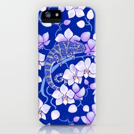 Chameleons and orchids - night iPhone Case