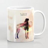 greyhound Mugs featuring Twiggy greyhound by Ingrid Winkler