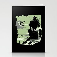 shadow of the colossus Stationery Cards featuring Silhouette of the Colossus by Piercek25