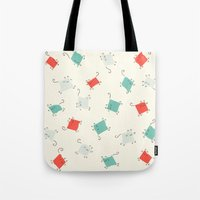 tape Tote Bags featuring Tape cats by Kitten Rain
