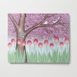 white breasted nuthatches, tulips, and cherry blossoms Metal Print