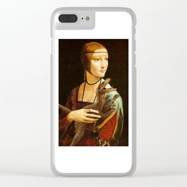Lady with a Velociraptor Clear iPhone Case