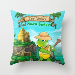 The Adventures of Mr. Turtle Throw Pillow