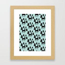 Deer In The Forest Blue Pattern Framed Art Print