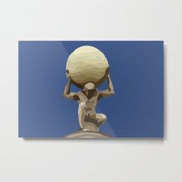 Man with Big Ball Illustration dark blue Metal Print