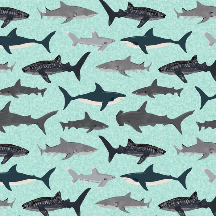 Sharks nature animal illustration texture print marine biologist sea life ocean Andrea Lauren Leggings