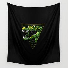 Cyber Crocodile Punk Wall Tapestry