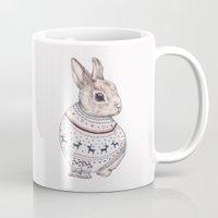 sweater Mugs featuring sweater rabbit by RACHEL