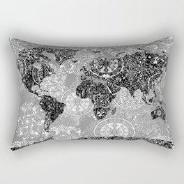 world map mandala black and white 1 Rectangular Pillow