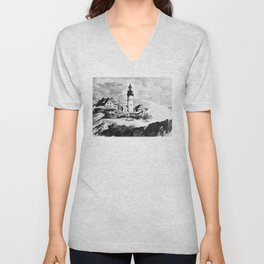 Portland Head Light Lighthouse Maine Unisex V-Neck