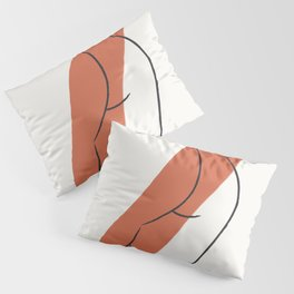 Fine Line Woman Body Drawing with Statement Brush Strokes Pillow Sham